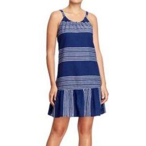 Striped Linen Cotton Drop Waist Dress xl